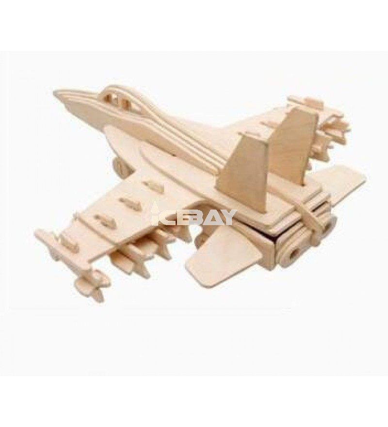 3-D Wooden Puzzle- Children and adult's educational building blocks puzzle toy F-18s fighter model