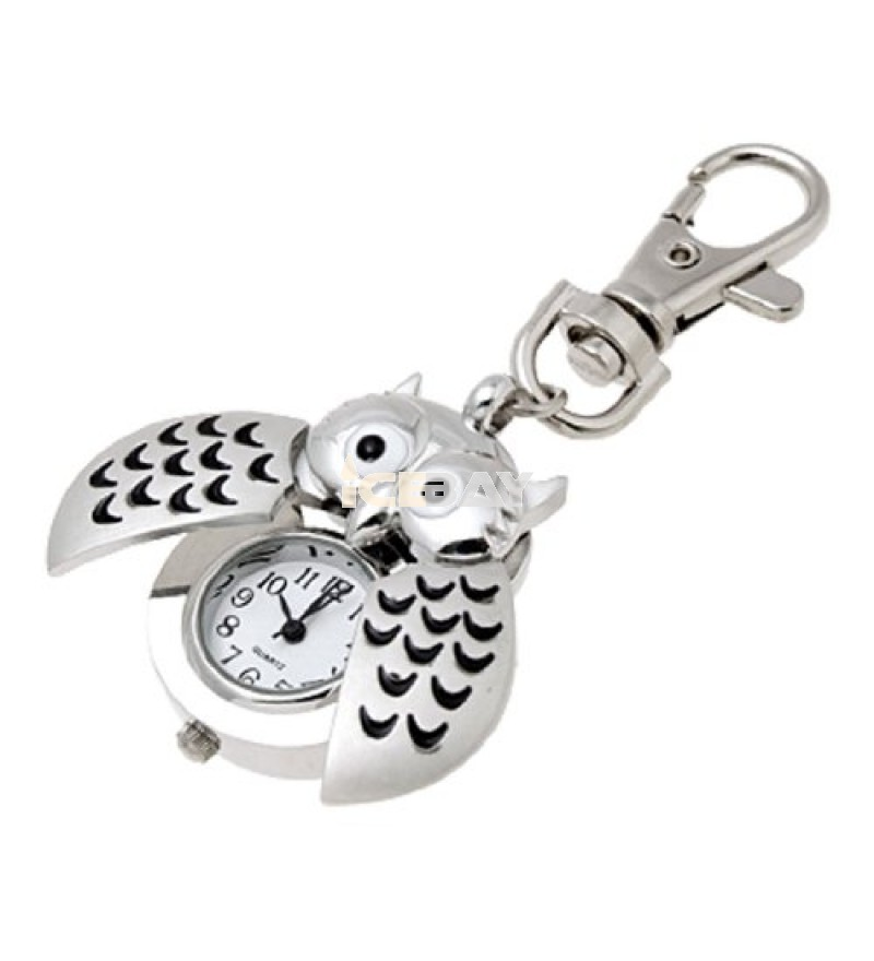 Mini Key Ring owl Quartz Watch Clock- Silver