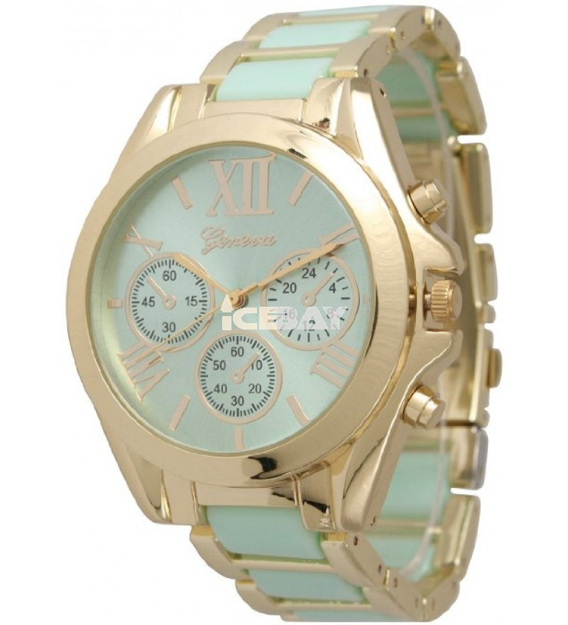 Women's Geneva Roman Numeral Gold Plated Metal/Nylon Link Watch