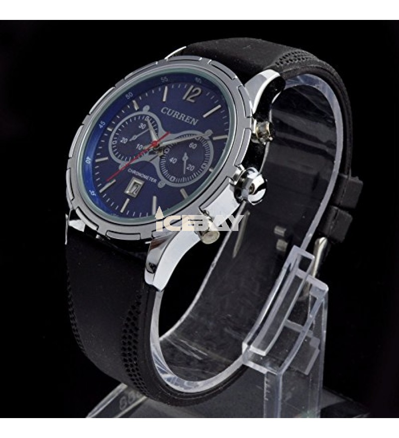 Curren 8066 Sapphire Gents Mens Fashion Watch with Rubber Strap