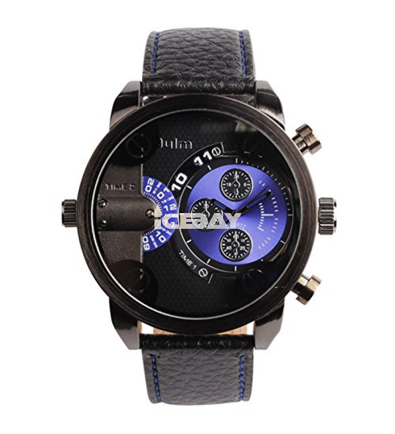 OYang Two Time Zone Display Quartz Movement Wrist Watch With Small Dials For Decoration Purpose Only (Green)