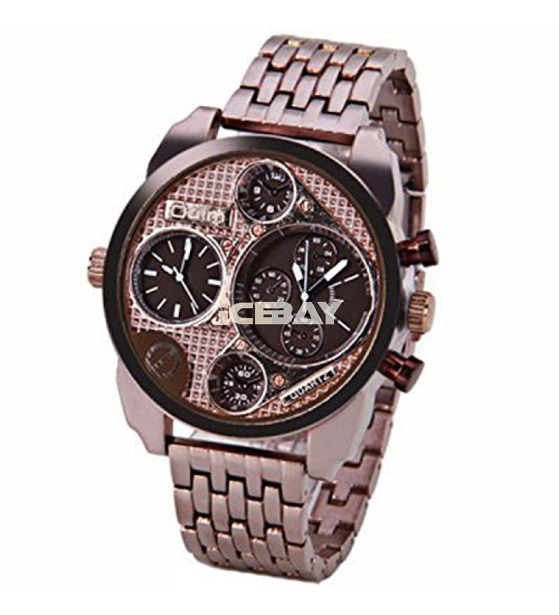 OYang Luxury Watch Brand Full Steel 4 Small Dials Military Antique Clock Quartz Mens Watch Red copper color