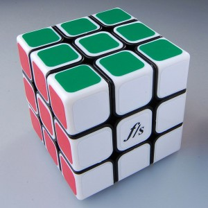 Fangshi Shuangren 54.6mm Magic Cube Black White Cover
