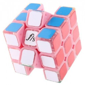 Fangshi (Funs) Shuang Ren 3x3x3 54.6mm Speed Cube Puzzle, Transparent Body With Pink Cap
