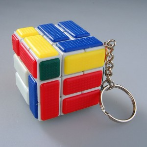 Cube Twist Bandaged 3x3x3 Puzzle Speed Cube Keychain White
