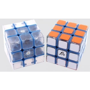 Fangshi (Funs) Shuang Ren 3x3x3 54.6mm Speed Cube Puzzle, Blue Body With Transparent Cap