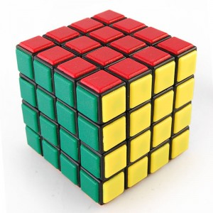 Lanlan 6.5cm 4x4x4 Speed Cube Puzzle With Plastic Tile - Black