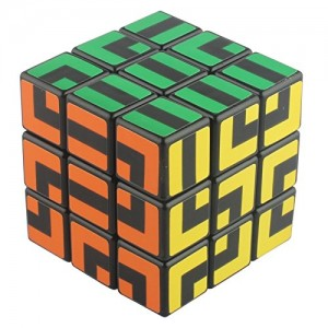 Maru 3x3x3 Maze 6 Color Speedcube Puzzle, Black