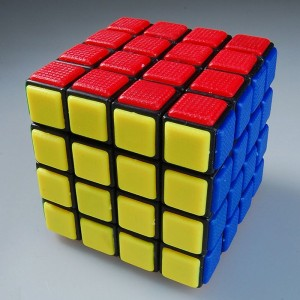 QJ Tiled 4x4x4 Revenge Rubik Mater Speed Cube Black