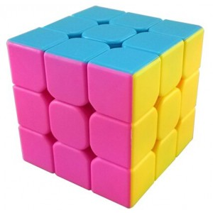 YJ Moyu Mini Aolong 3x3x3 Speed Cube Puzzle, 54.5mm Stickerless Pink