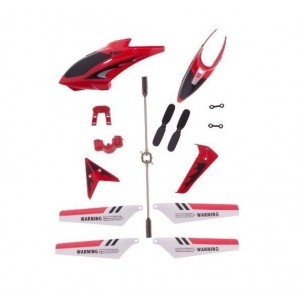 Full Replacement Parts Set for Syma S107 RC Helicopter, Syma Head Cover S107G-01, Syma Main Blades S107G-02, Syma Tail Decorations S107G-03, Syma Connect Buckle x2 S107g-04, Syma Balance Bar S107G-05, Syma Tail Blade S107G-06 -Red set