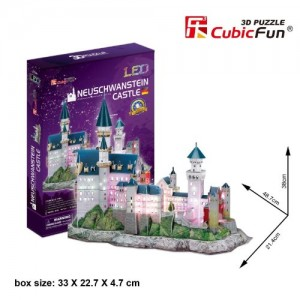 CubicFun LED 3D Puzzle 128 Pieces: Neuschwanstein Castle