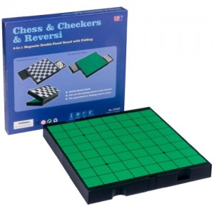 3 in 1 Travel Magnetic Chess, Checkers and Reversi Set - 9.75'' x 9.25''