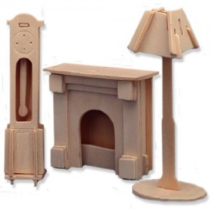 3-D Wooden Puzzle - Dollhouse Clock, Lamp, & Fireplace -Affordable Gift for your Little One! Item #DCHI-WPZ-P009