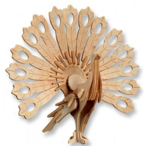 Educational Products - 3-D Wooden Puzzle - Peacock -Affordable Gift for your Little One! Item #DCHI-WPZ-M014 - Puzzle consists of 59 interlocking pieces.
