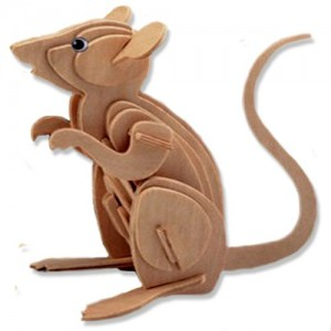 3-D Wooden Puzzle - Small Mouse -Affordable Gift for your Little One! Item #DCHI-WPZ-M001
