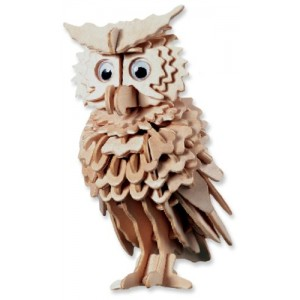 3-D Wooden Puzzle - Owl -Affordable Gift for your Little One! Item #DCHI-WPZ-E038