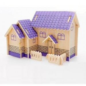 3-D Wooden Puzzle- Children and adult`s educational building blocks puzzle toy Purple cabin model