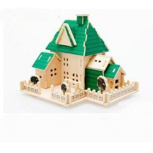 3-d Wooden Puzzle- Children and Adult's Educational Building Blocks Puzzle Toy Happy House Model