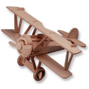3-D Wooden Puzzle - Small Biplane Model Nieuport 17 -Affordable Gift for your Little One! Item #DCHI-WPZ-P060