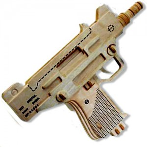 3-D Wooden Puzzle - Uzi Pistol -Affordable Gift for your Little One! Item #DCHI-WPZ-P118