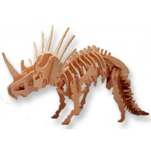 Educational Products - 3-D Wooden Puzzle - Small Styracosaurus -Affordable Gift for your Little One! Item #DCHI-WPZ-J006A - Puzzle consists of 36 interlocking pieces.
