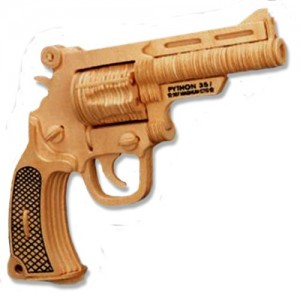 3-D Wooden Puzzle - Bull Dog Pistol -Affordable Gift for your Little One! Item #DCHI-WPZ-P116