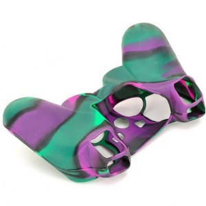 Protective Soft Silicone Case for PS3 Controller - Green + Purple + Black