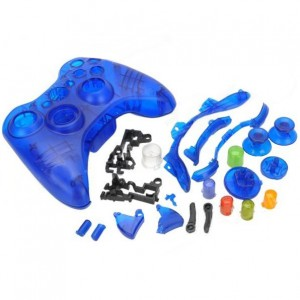 Protective ABS Full Shell Case Set for Xbox 360 Wireless Control - Translucent Blue