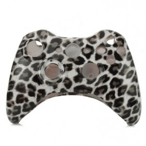 Leopard Print Pattern Replacement Housing Case Set for XBOX 360 Wireless Controller - Black + White
