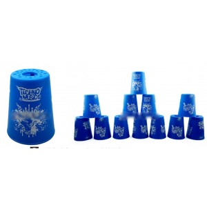 Qiyun Yongjun  Graffiti Speed Flying Cup Stacking Rapid Cups sets 12 Pieces Blue
