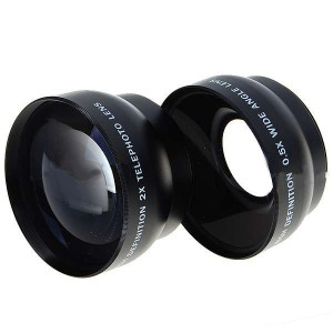 52mm 0.45X Wide Angle + 52mm 2.0X Telephoto Lens Filters with 4 Adapter Rings