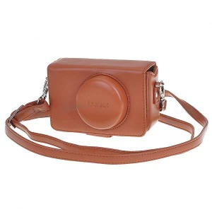 Leather Carrying Case for Panasonic LUMIX LX3 - Yellow Brown
