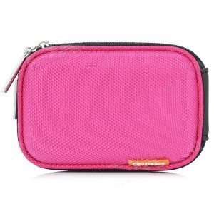 Stylish Protective Case Bag with Carabineer Clip for Digital Camera - Deep Pink