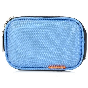Stylish Protective Case Bag with Carabineer Clip for Digital Camera - Light Blue