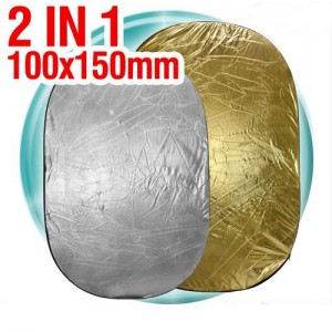 "Collapsible 2in1 reflector 100x150cm OVAL 40""x60"""