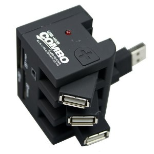 USB Twistable 3-port Hub and All-in-one Card Reader Combo