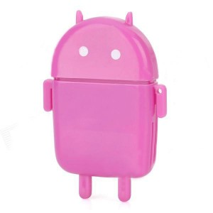 Cute Android Robot Style USB 2.0 SD / MS / M2 / TF Card Reader - Purple