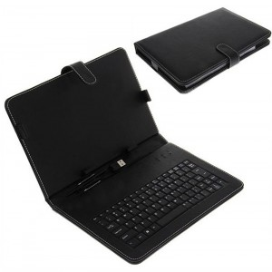 Leather Case with Keyboard Stylus and USB 2.0 for 10 inch Tablet PC - Black