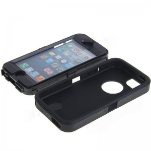 Fashion Dustproof Design Detachable Plastic and Silicone Hybrid Case Cover for iPhone 5 (Black)