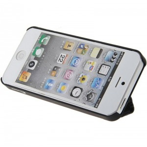 Guoer Plastic Smart Cover Case + Magnetic Surface Stand for iPhone 5 (Black)