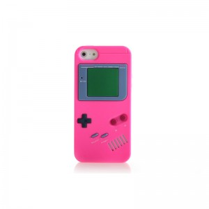 GameBoy Console Style Silicone Protective Case for iPhone 5 (Peach)