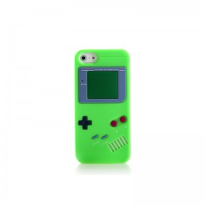 GameBoy Console Style Silicone Protective Case for iPhone 5 (Green)
