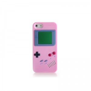 GameBoy Console Style Silicone Protective Case for iPhone 5 (Pink)