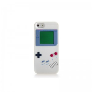 GameBoy Console Style Silicone Protective Case for iPhone 5 (White)