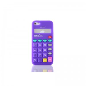 Calculator Style Protective Silicone Case for iPhone 5 (Purple)