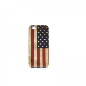 Retro American Flag Pattern PVC Protective Case for iPhone 5