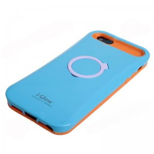 New Arrival I-Glow Noctilucent Silicone and Plastic Stand Protective Case Cover for iPhone 5 - Blue