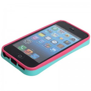 New Arrival I-Glow Noctilucent Silicone and Plastic Stand Protective Case Cover for iPhone 5 - Green