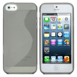 Wave Pattern Protective TPU Soft Back Case for iPhone 5 - Grey